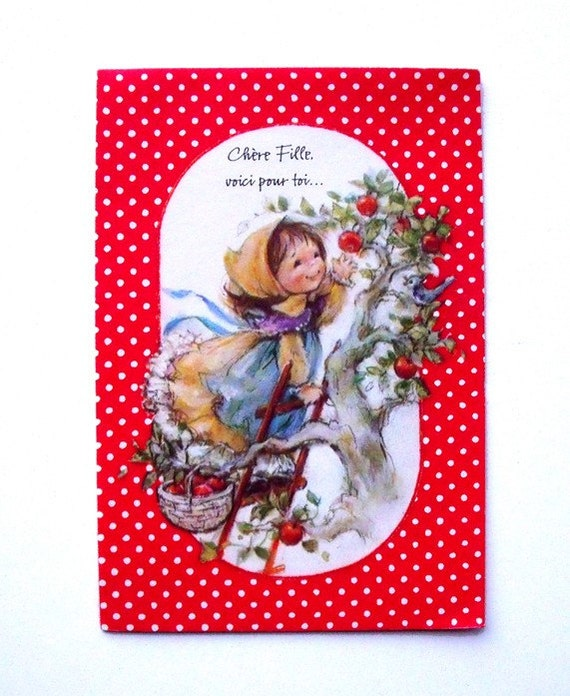 70s French Birthday Greeting Card - Little Girl in Apple Tree  - Unused - Hallmark Canada - Adorable Retro Card