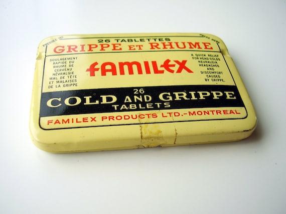 Antique Art Deco Belladonna Medicine Tin Box FAMILEX Montreal Co - Butter Yellow French Apothecary Pharmacy Decor Collectible