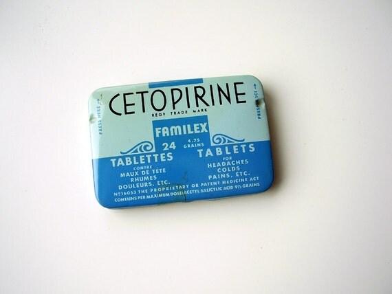 Antique Art Deco Headache Cold Medicine Tin Box from FAMILEX Montreal Co French & English - Robins Egg Blue Shabby Chic Decor Collectible