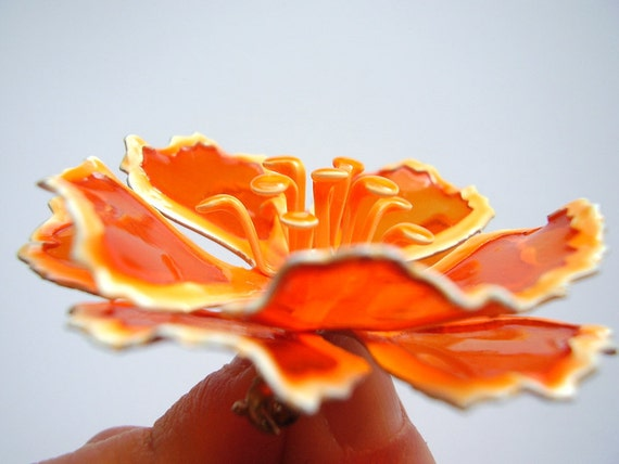 Vintage 1960s Translucent Orange Flower Brooch with Layered Petals - Sixties Flower Power Accessory