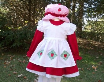 Strawberry Shortcake Girls Costume Set, Vintage Girls Costumes, Classic Character Costumes, Custom Costumes, Halloween Costumes for Kids