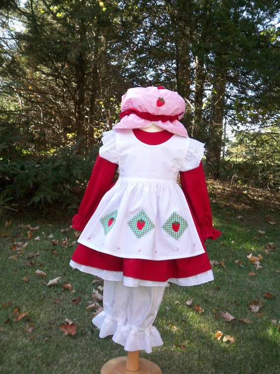 Strawberry Shortcake Girls Costume Set, Vintage Girls Costumes, Classic Character Costumes, Custom Costumes, Halloween Costumes for Kids