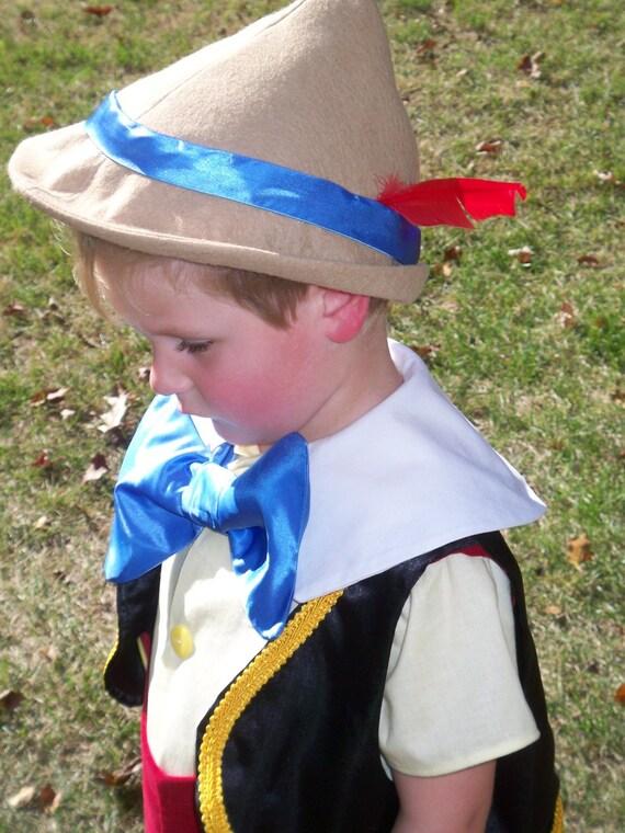 Child's Pinocchio Hat - Childrens Costumes, German Hat, Alpine Hat, Boys Costume, Dress up Hats - BLACK FRIDAY SALE 10 percent off