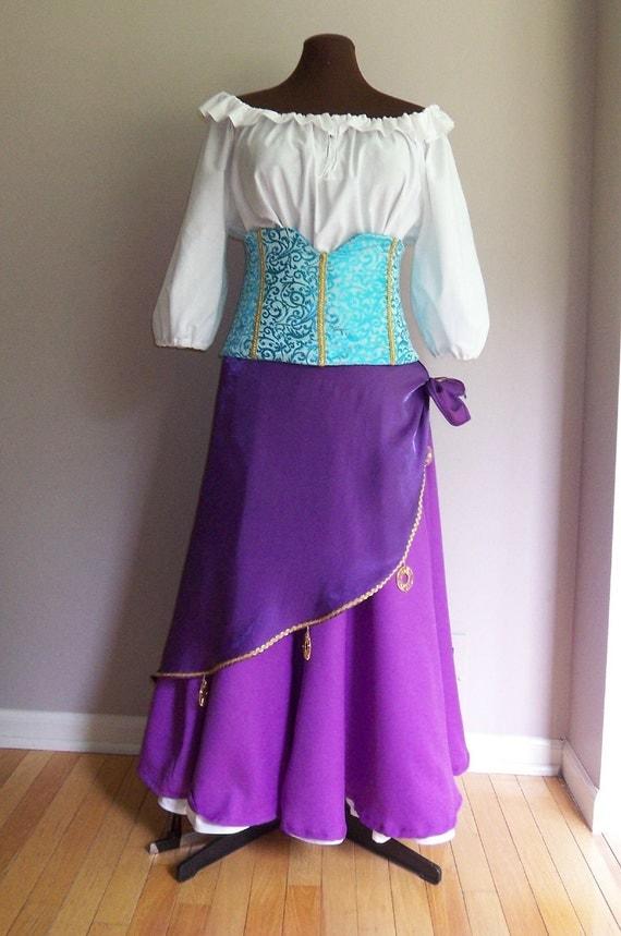 Ladies Gypsy Costume, Esmerelda Adult Costume Dress, Esmerelda Cosplay, Ladies Custom Made to Fit Costume, Cosplay Costumes for Women