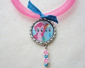 """MY LITTLE PONY bottle cap necklace-with 14"""" pink mesh ribbon and beads - You choose the image"""