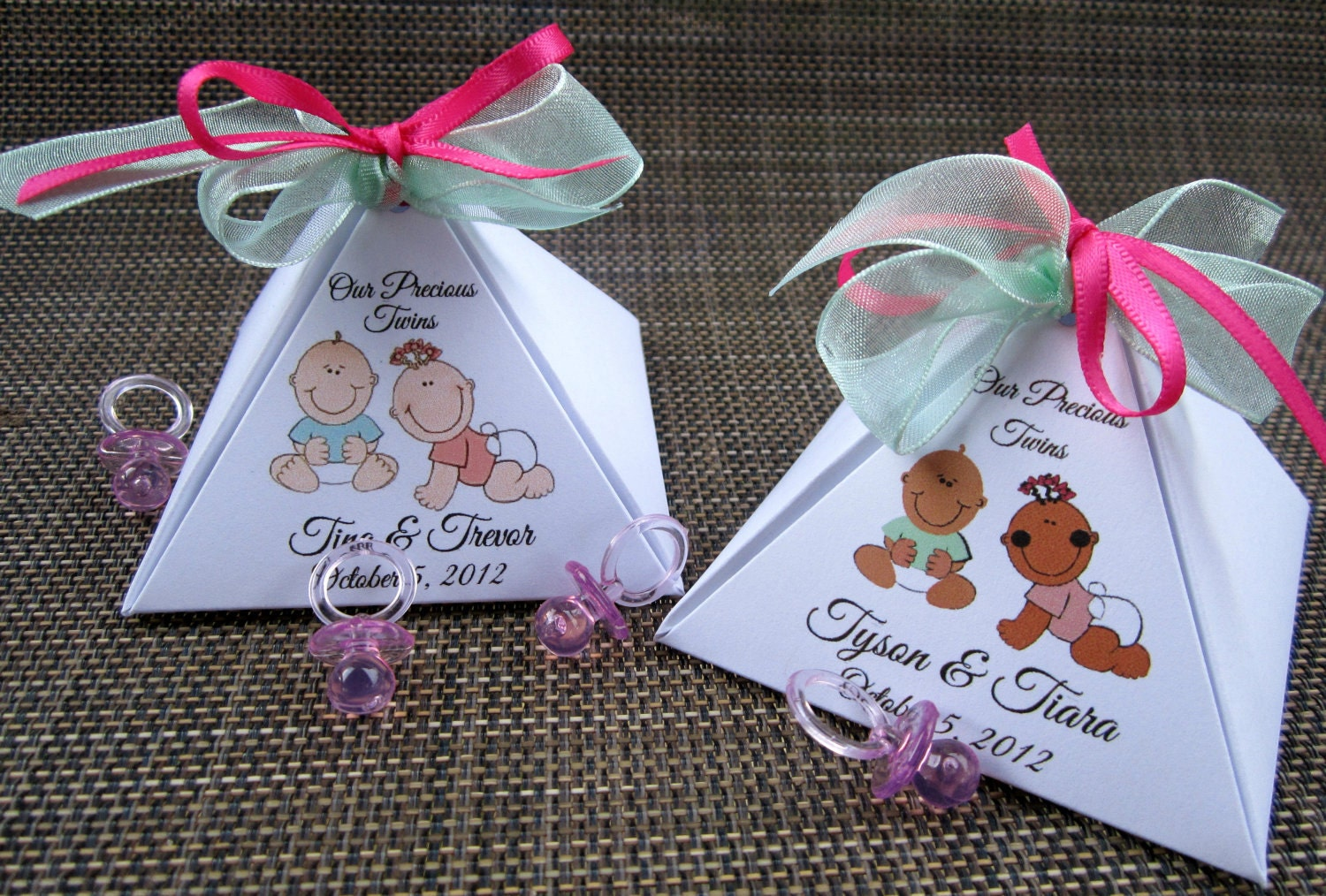 Items similar to twins personalized pyramid baby shower for Baby shower decoration twins