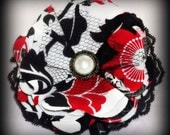 Fabric Posy Hair Clip or brooch pin -Red Blossom for Flower girl, Pageant, photo shoot prop, girly girls