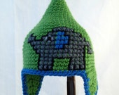 Pointed Green Baby Hat with Embroidered Gray Elephant, Blue Accents, and Earflaps