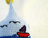 Pointed Blue Baby Hat with Embroidered Sailboats and Clouds, Yellow Sun and Earflaps