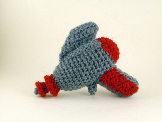 Crochet Raygun in Gray and Red - Baby's First Raygun