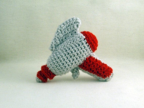 Crochet Raygun in White and Red - Baby's First Raygun