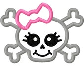 Digitizing Dolls Girly Bow Skull 2 Applique Machine Embroidery Design 3x3 4x4 5x7 INSTANT DOWNLOAD
