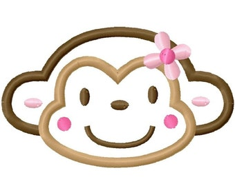 Girly Flower Monkey Face Applique Machine Embroidery Design 4x4 5x7 6x10 INSTANT DOWNLOAD