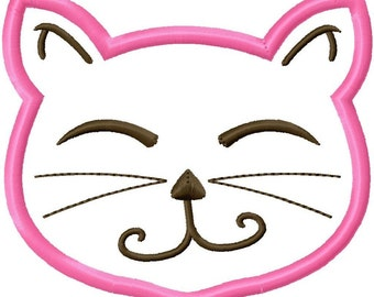 Kitty Cat Applique Machine Embroidery Design 4x4 5x7 INSTANT DOWNLOAD
