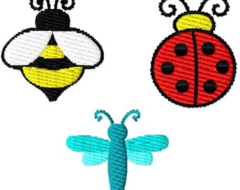 Digitizing Dolls 1 inch Mini Design Set of 3 BUGS Solid Fill Machine Embroidery Designs Ladybug Bumble Bee Dragonfly INSTANT DOWNLOAD