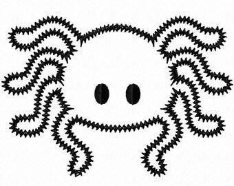 Spider Zigzag Applique Machine Embroidery Design 4x4 5x7 Halloween INSTANT DOWNLOAD