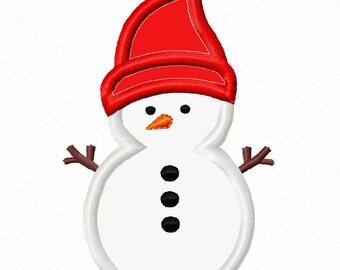 Snowman Applique Machine Embroidery Design 4x4 5x7 INSTANT DOWNLOAD