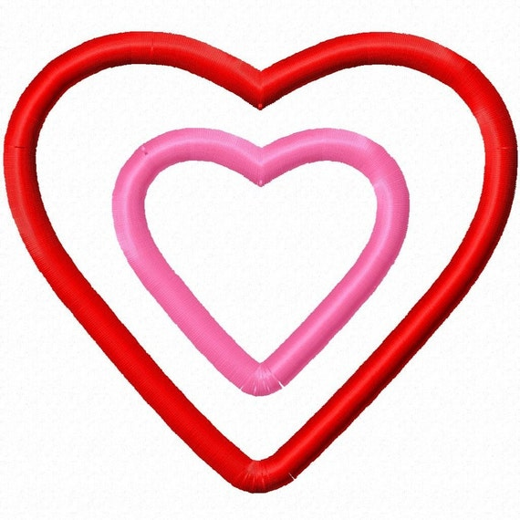 Digitizing Dolls Double Layer Heart Applique Machine Embroidery Design 2x2 4x4 5x7 INSTANT DOWNLOAD