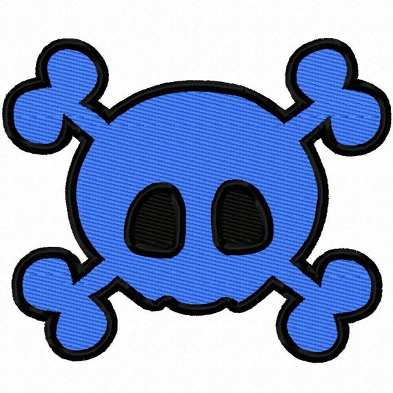 Digitizing Dolls Skull and Cross Bones Solid Fill Machine Embroidery Design 1x1 2x2 3x3 4x4 INSTANT DOWNLOAD