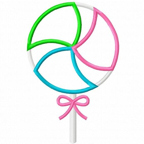 Digitizing Dolls Swirl Lollipop 4 Applique Machine Embroidery Design 4x4 5x7 Candy INSTANT DOWNLOAD