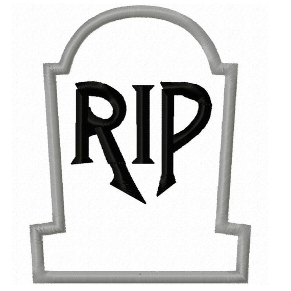 Digitizing Dolls RIP Head Stone Grave Applique Machine Embroidery Design 4x4 5x7 Halloween INSTANT DOWNLOAD