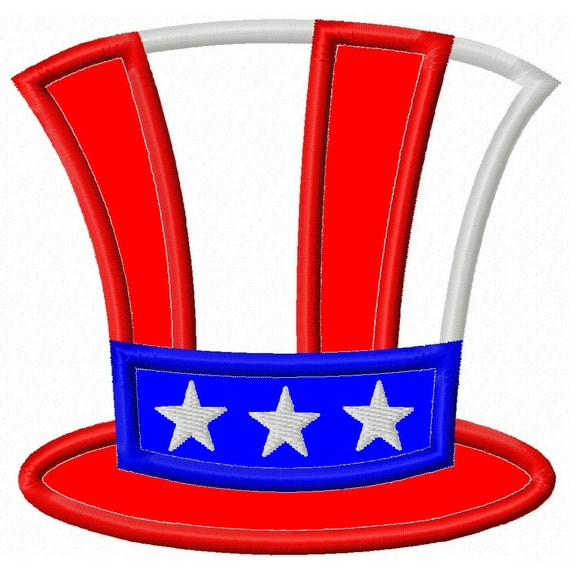 Digitizing Dolls Uncle Sam Hat Applique Machine Embroidery Design 4x4 5x7 Independence Day 4th of July INSTANT DOWNLOAD
