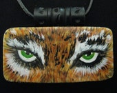 Hand Painted African Tiger Eyes Domino Pendant with Leather Cord Necklace