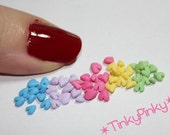 50 tiny hearts in spring colors for nail art/ scrapbooking/ cupcakes/ desserts/ deco den/ cakes/ fake sweets etc