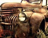 Rusty Antique Truck - Original Photograph - Rust Orange Sepia Brown Aged Weathered Old Junker Distressed Home Decor