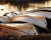 Rowboats - Original Photograph 8x10 - Golden Afternoon Sunlight Sepia Tone Pond Lake Fishing Spot Home Decor Man Cave Wall Art