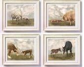 Baby Farm Animals - Set of 4 Photographs - Instant Decor - Nursery Wall Art Soft Sweet Dreamy Pastel