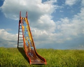 The Old Slide - Original Photograph - Colorful Back to School Boys Room Baby Nursery Decor Playground