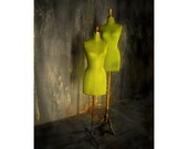 Photograph - Green Mannequins - Lime Green Fashion Avocado Distressed Grey NYC Theater Urban Window Display New York Shopping