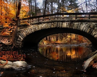 Over the River and Through the Woods - Stone Bridge Woodland Hike Fairy Tale Magical Autumn Fall Original Photograph