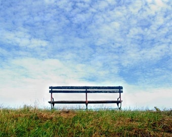 A Nice Place To Sit - Original Photograph - Park Bench Green Grassy Hillside Blue Cloudy Sky Serene Peaceful Solitude