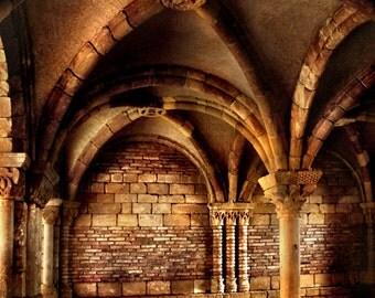 Golden Arches - Original Photograph - Amber Sepia Architecture Stone Castle Medieval Monastery Masculine Unisex Home Decor Wall Art