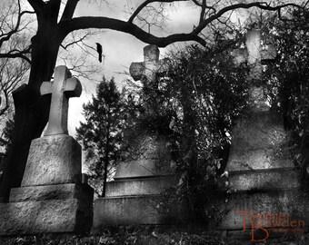 Watch Over Me - Dark Moody Cemetery Graveyard Headstones Gravestones Crow Gothic Black and White Cross Tree Sleepy Hollow Photo