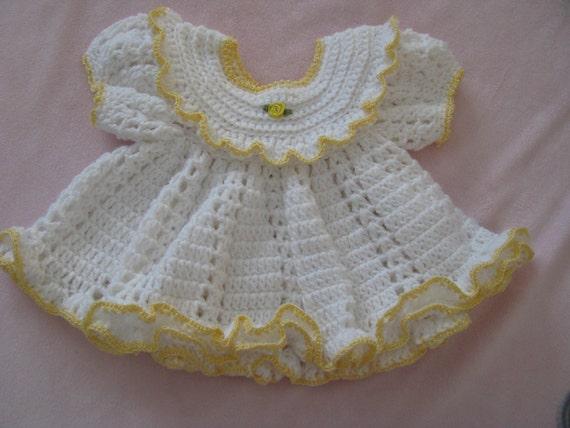 Dress white with yellow trim  newborn to 3 months