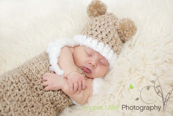 Newborn Baby Bear Cocoon and Hat Photo Prop Set for Boys or Girls - Oatmeal Beige with Fluffy White Trim