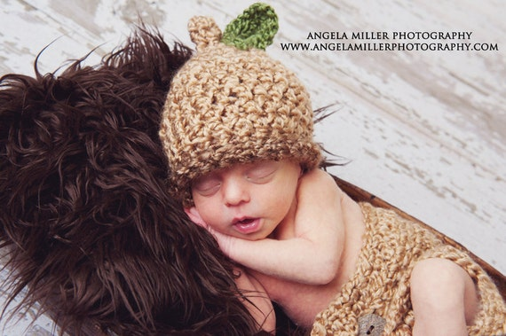 Baby Acorn Hat and Diaper Cover Photo Prop Set - Tan and Brown