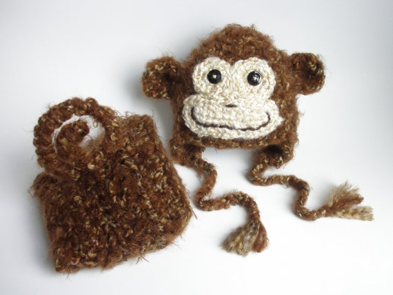 Newborn Baby Boy Monkey Diaper Cover and Hat Photo Prop Set - Furry Chestnut Brown READY TO SHIP