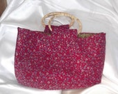 Gorgeous Floral Corduroy Bag with Cane handles