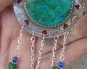 Eilat Stone Brooch, Recycled Sterling Tray, made into Southwestern Style Brooch with Eilat Stone