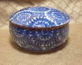 Porcelain Box, Cobalt Blue Ceramic Trinket Box, Mid Century Asian Round Blue Box, for Jewelry