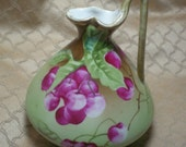 Nippon Porcelain Pitcher, Nipponese, Pre-World War II Japanese Hand Painted Pitcher, Limoge Style China, Pre 1944