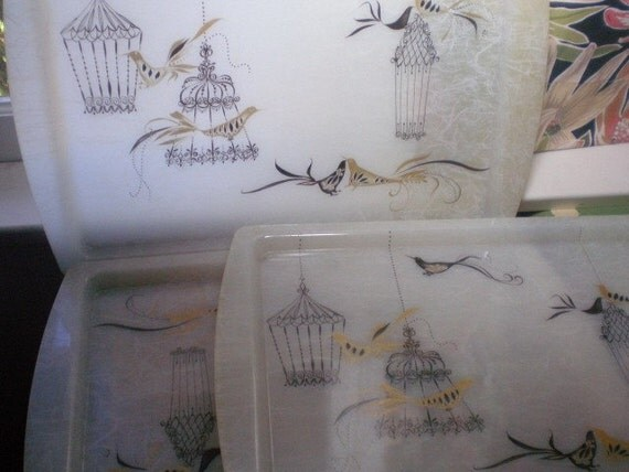 Fiberglass Trays, Mid Century 1950's Bird in a Gilded Cage, Fiber Glass Serving Trays, Barely Used