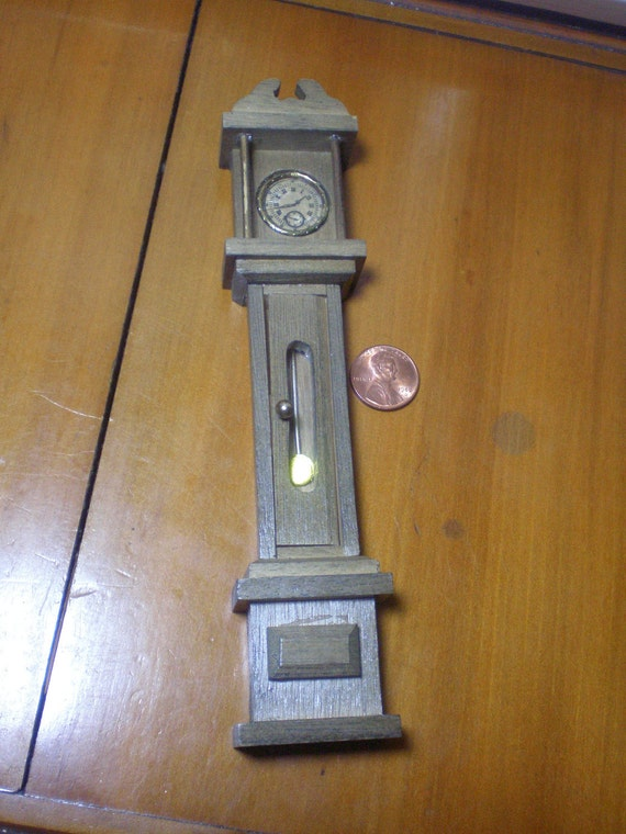 Miniature Grandfather Clock for Doll House Decor, All Wood, 7 Inches Tall