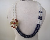 Vintage Red Rhinestone Brooch Necklace