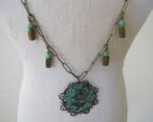 SALE:  Verdigris Brass Partridge Bird Necklace