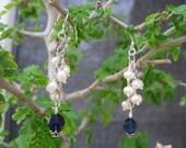 Sterling Blue Swarovski Crystal and Pearl Earrings